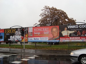 Billboard for the concert in Maribor