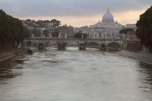 Saint-Peter's Basilica as seen from the Tiber